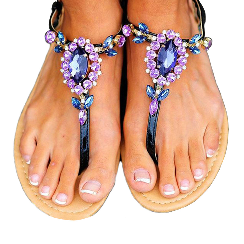 fa36842a04ba50 Woman Sandals Women Shoes Rhinestones Chains Thong Gladiator Flat Sandals  Crystal Basic Slippers Flip Flops Beach Shoes Size 47