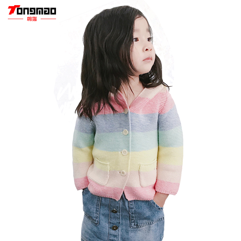 TONGMAO Autumn and Winter New Children's Clothing Stitching Color Striped Cardigan Coat Sweater Boys and Girls Small Ears Hooded 2018 spring women flats shoe flowers embroidery shoes waterproof platform floral flats lace up casual white shoes female