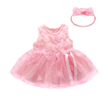 цены 2019 New Baby Girl Birthday Party Tutu Dress Infant Lace Wedding Suit Sleeveless Summer Clothes Pink Princess Baby Dress 2pieces