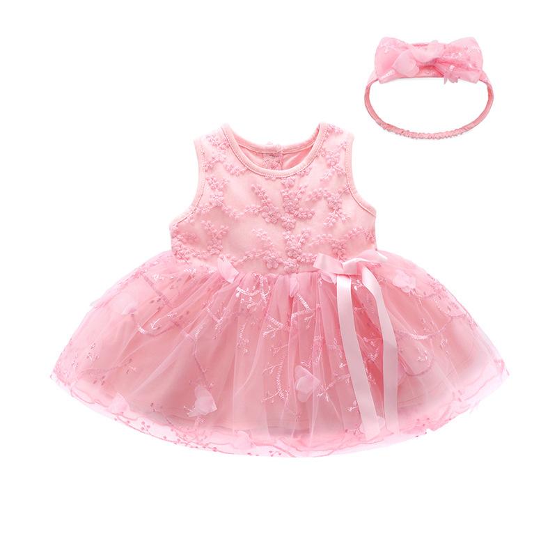2020 New <font><b>Baby</b></font> Girl Birthday Party Tutu <font><b>Dress</b></font> Infant Lace Wedding Suit Sleeveless <font><b>Summer</b></font> Clothes Pink Princess <font><b>Baby</b></font> <font><b>Dress</b></font> 2pieces image