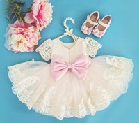 Cute Lace knee length beading flower girl dress with bow communion frocks kids baptism prom ball gowns for formal occasion