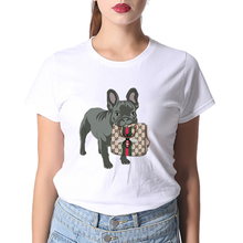 100% Cotton White GG Dog T-shirt Women Brand Paris Purse Summer T Shirt