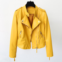 Cheap Women Soft Short Leather Jackets 2017 New Arrivals Autumn Spring Women PU Blazer Zippers Coat Motorcycle Candy Color C845