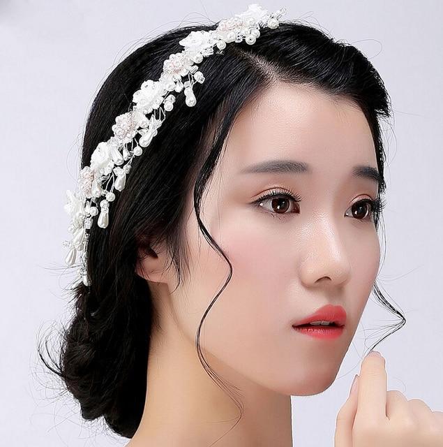 Fashion Pearl Crystal Hair Crown Wedding Bridal Hair Silver Wire