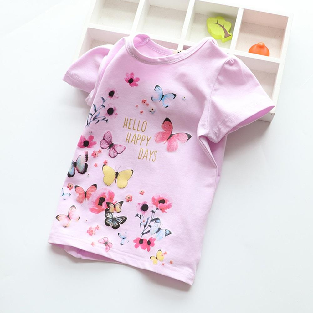 New Cotton Kids T-Shirt Children Summer Short Sleeve T-Shirts for Girls Clothes Cat Rabit Butterfly Baby T Shirt Toddler Tops 10