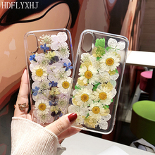 HDFLYXHJ Handmade Daisy Flowers Soft TPU Cases For iPhone 6S 7 8 Plus X XR XS Max Dried Real Floral Clear Pressed Phone Cover