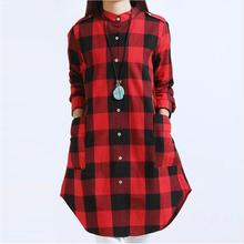 Women Tops Plus Size M~3XL Women Clothing Plaid Blouse Long Sleeve Women Blouses Cotton Linen Women Shirts Casual Vintage tops