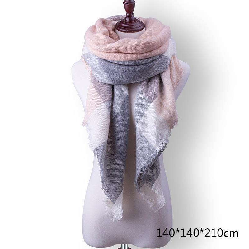 Горячая Распродажа, Модный зимний шарф, Женские повседневные шарфы, Дамское Клетчатое одеяло, кашемировый треугольный шарф,, Прямая поставка - Цвет: A15
