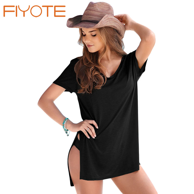 FIYOTE Vintage Swimwear Ladies Beachwear Black Cozy Short Sleeves T-shirt Cover-up LC42129 Bathing Suit cape Saida de Praia