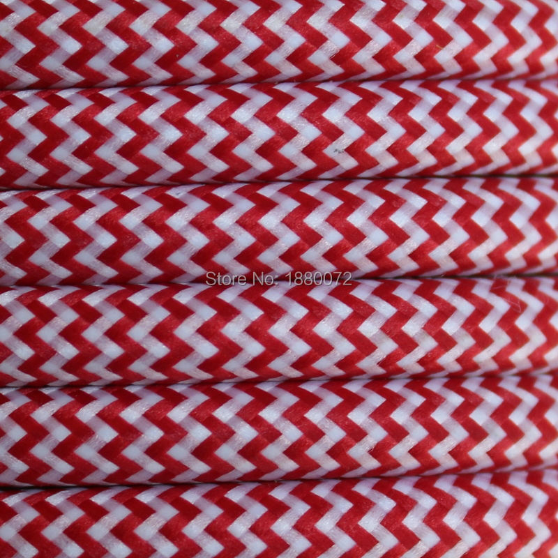 2*0.75mm Copper Cloth Covered braided cable Vintage Style Lamp Cord FABRIC Round ELECTR WIRE- Zig zag