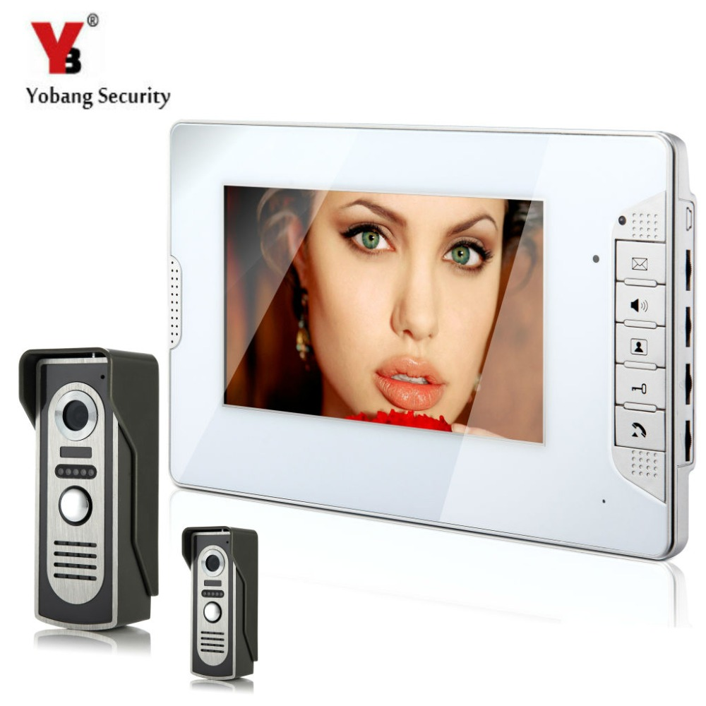 YobangSecurity Video Intercom Monitor 7 Video Door Phone Home Security Wire 2 Camera 1 Monitor for House/Office/apartment/Hotel video intercom monitor 7 door phone home security color tft lcd hd wired 1 camera 2 monitor for house office apartment hotel