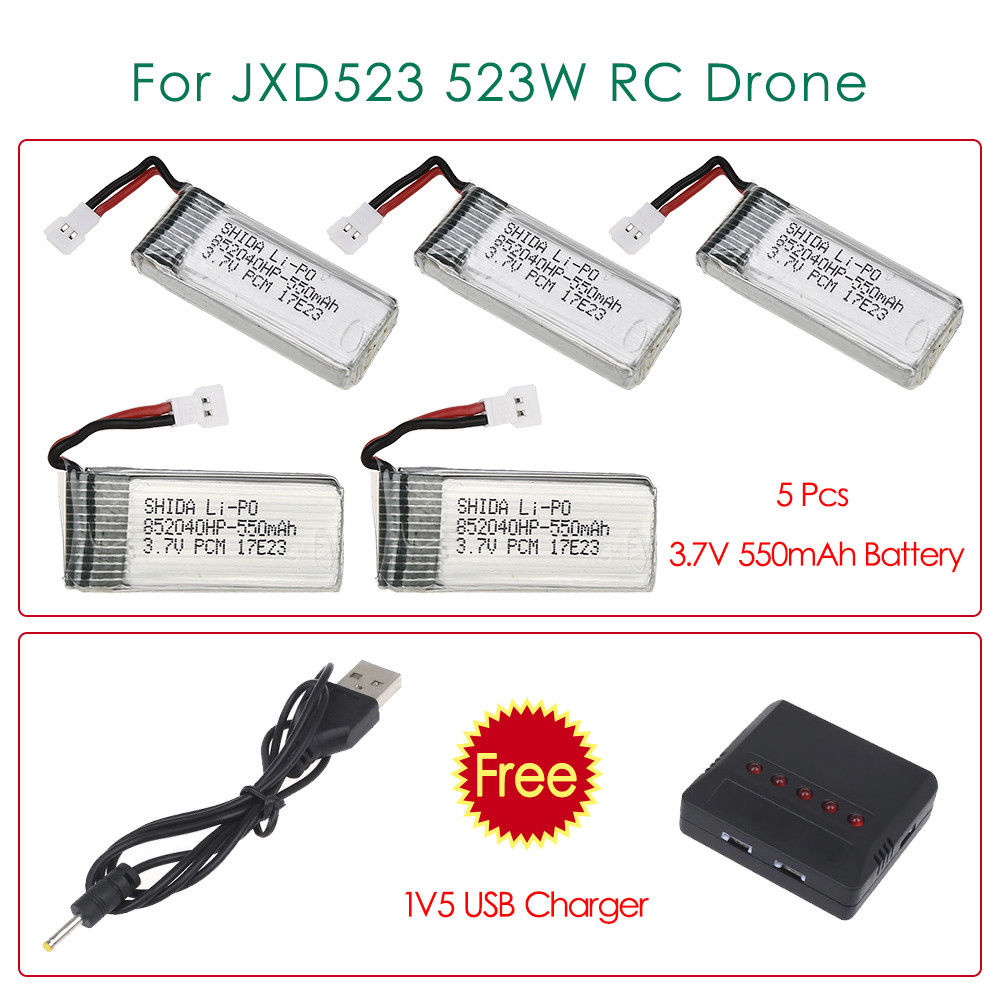 TOMLOV 5 Pcs 3.7V 550mAh Rechargeable Battery Spare part+5in1 Charger FPV Accessories Replacement For JXD523 523W RC Drone