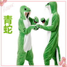 Cute cartoon animals in the fall and winter Wolf sleeper green snake lion flannel family clothing for women men