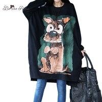 BelineRosa Large Size Abbigliamento Donna Kawaii Big Eye Cani Stampa Camicie Nere Donne Più Il Formato Maglietta Donne ALWY0006