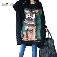 BelineRosa Large Size Women Clothing Kawaii Big Eye Dogs Printing Black Shirts Women Plus Size Tshirt