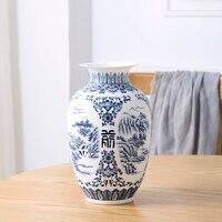 Jingdezhen Ceramic Vase Retro ancient Landscape Dumb Blue and White Porcelain Flower Arrangement Small Dry Flower Vase Porcelain
