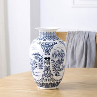 Jingdezhen Ceramic Vase Retro ancient Landscape Dumb Blue and White Porcelain Flower Arrangement Small Dry Flower Vase Porcelain
