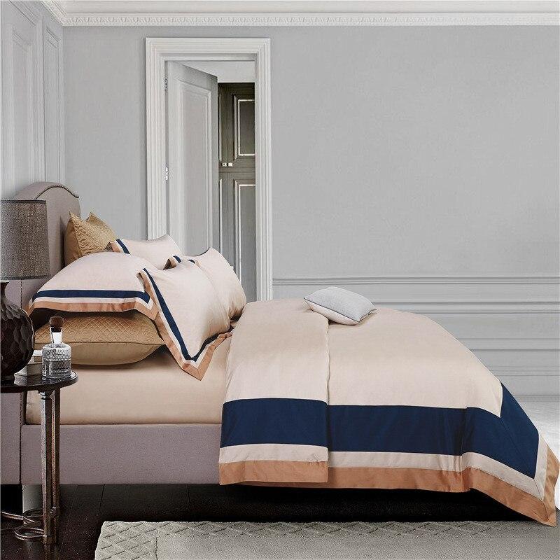 2018 hotel bedding set king size cuciture colore copripiumino lenzuolo set 4 pz multicolor cotone pima strisce urbano biancheria da letto