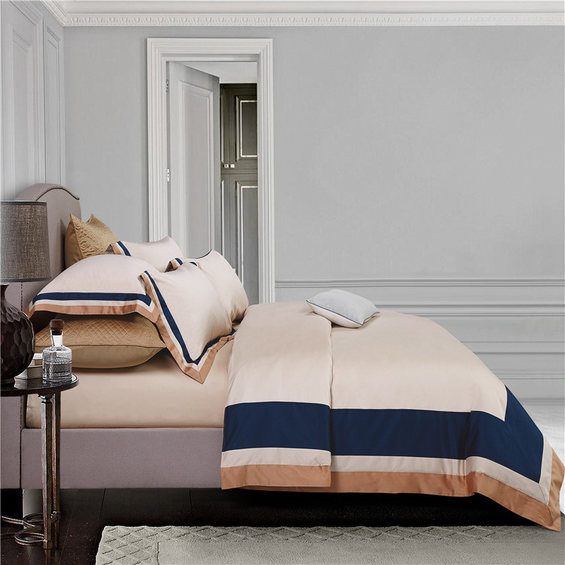 2018 hotel bedding set king size stitching color duvet cover bed sheet set 4pcs multicolor pima