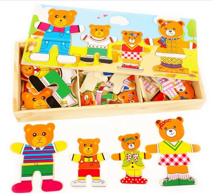 Бесплатная доставка! Игрушки для маленьких детей деревянные головоломки Cute Bear платье изменение головоломки мультфильма головоломка для де...