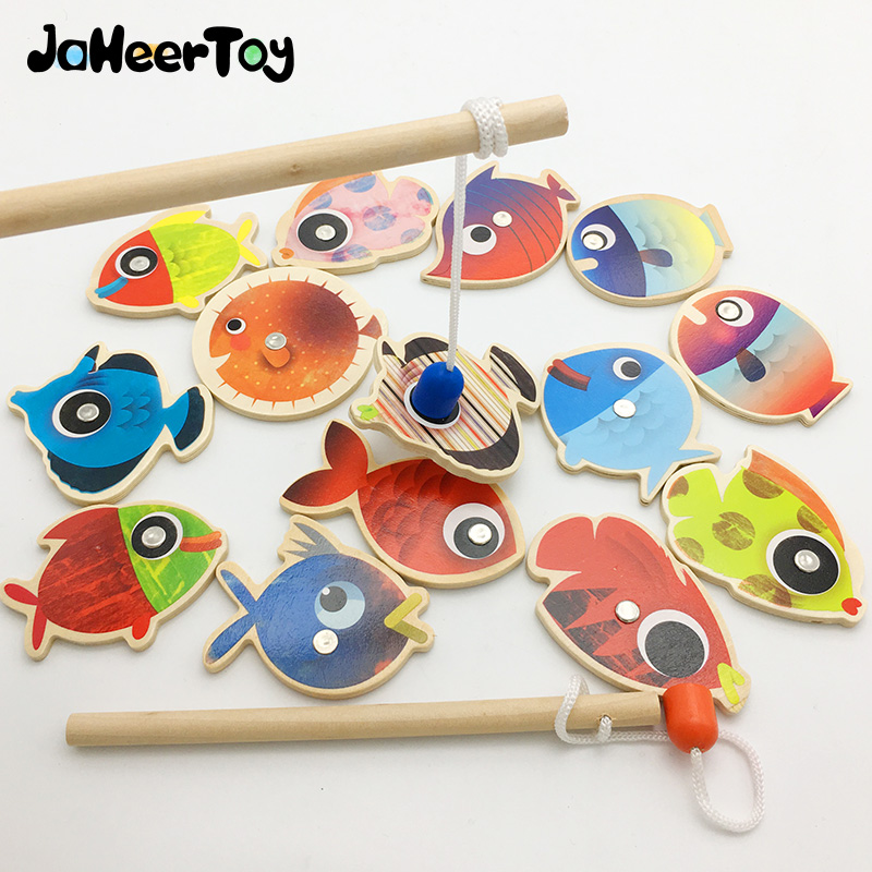 JaheerToy Fishing Toys for Children Educational 3 Years for Kids Gifts Magnetic Fishing Wooden Toy Set Game
