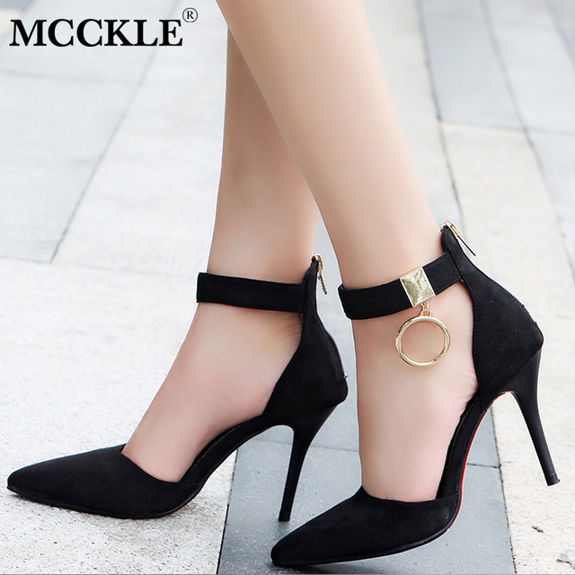 f459f54ac MCCKLE Women Spring Ankle Wrap Stilettos Pumps High Heels Flock Pointed Toe  Zipper Party Shoes Metal Circle Thin Heel Sexy