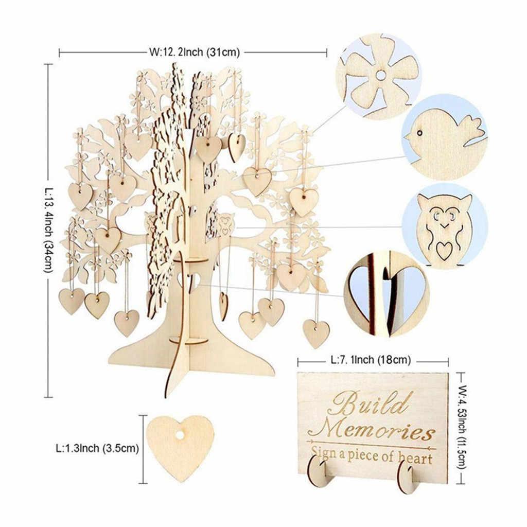 สมุดเยี่ยมสมุดเยี่ยมงานแต่งงานหนังสือไม้หัวใจจี้เครื่องประดับเครื่องประดับตกแต่ง Wedding Book 19May28 P30