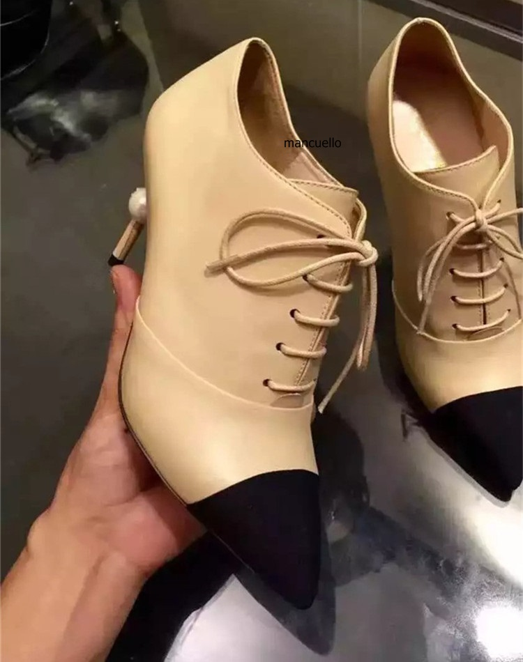 Classy Beige PU Leather Color Patchwork Stiletto Heels Chic Women Pointed Toe Lace Up Pumps Fashion Metal Beaded Heel Shoes pu leather panel lace up flare coat