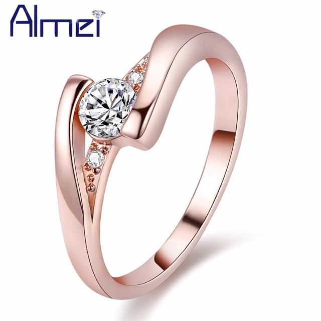 Almei 49% off Women's Ring Fashion Classic White Crystal Silver Color Commitment Rings Jewelry Wedding Engagement Girl Gift J045