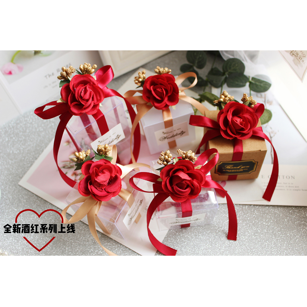 50Pcs Red Flower gift box PLASTIC kraft paper bag kraft paper bag candy box chocolate favor box packaging boxes Party Supplies in Gift Bags Wrapping Supplies from Home Garden