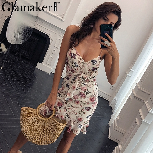 Glamaker Floral print hollow out boho women dress Ruffle short chiffon  women dress 2018 Mini sundress beach sexy party dress new