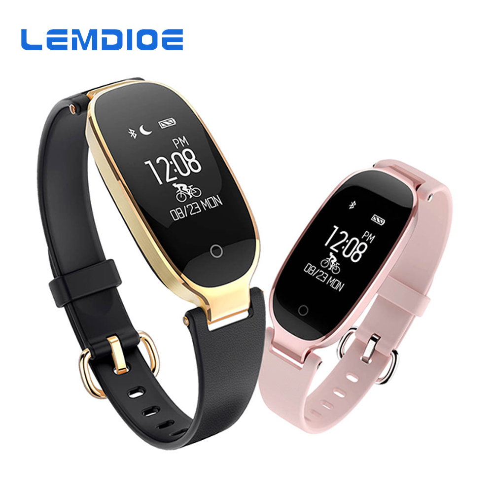 LEMDIOE Fitness Armband S3 Frauen Damen Mode Bluetooth Smart Armband Wasserdicht Heart Rate Monitor Fitness Tracker