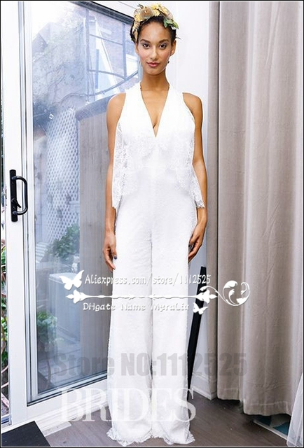 Awp 1057 White Lace Bridal Jumpsuit V Neck Pantsuit For Wedding In