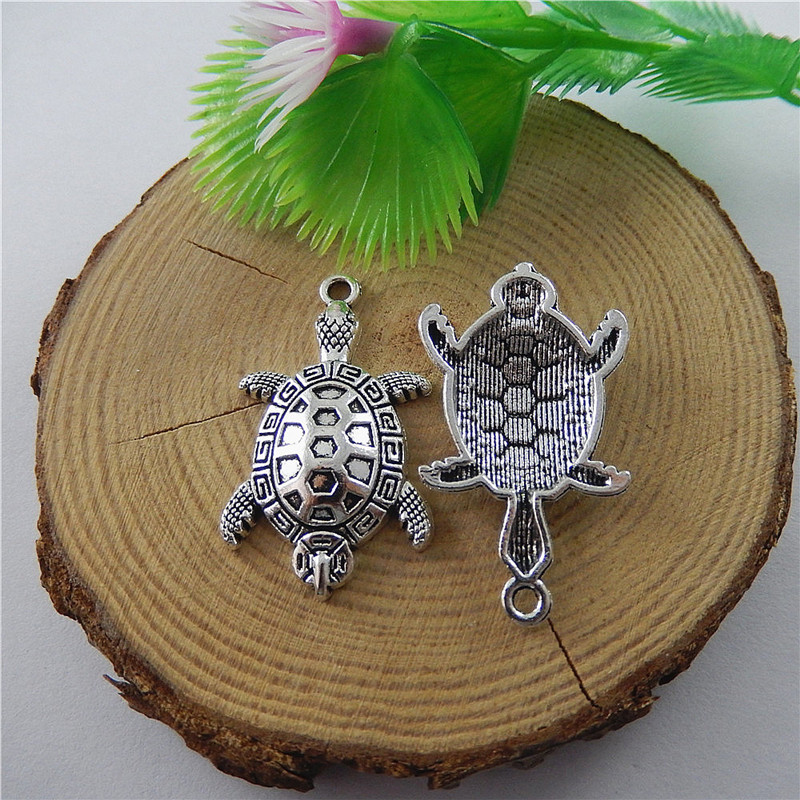 10pcs Antique Silver Cute Tortoise Styles Jewelry Pendants Charms Finding Jewelry Making Key Chain Accessary 37*22*5mm