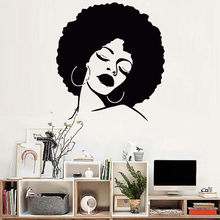 Fashion Lady Wall Stickers Hair Spa Salon Vinyl Decal Beauty Decoration Girls Bedroom Removable Poster AY1411