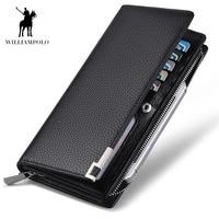 WilliamPOLO fashion luxury genuine leather men wallets brand long zipper clutch purse male long wallet