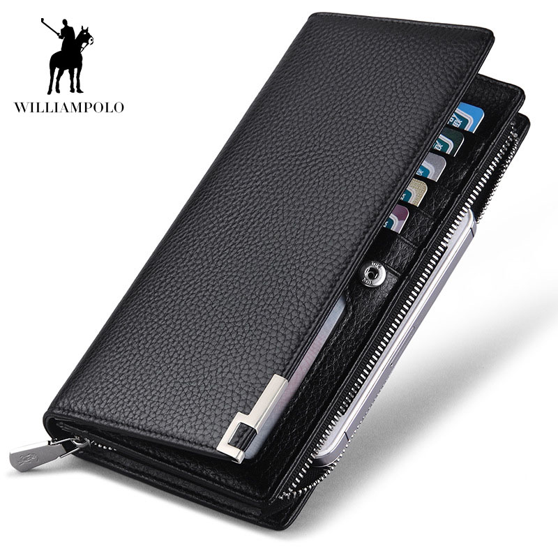 WilliamPOLO fashion luxury genuine leather men wallets brand long zipper clutch purse male long wallet