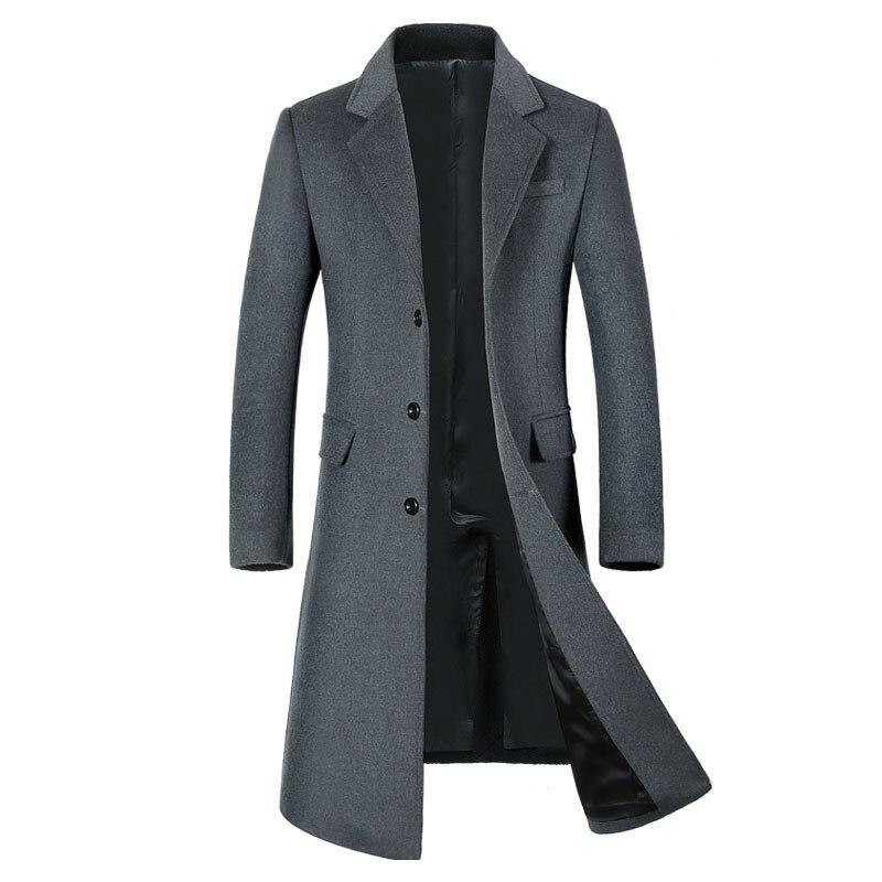 2017 Letskeep Winter Long Wool Overcoat Men Turn-down Collar Blends Peacoat Mens casual Woolen Classic Overcoats MA432 50