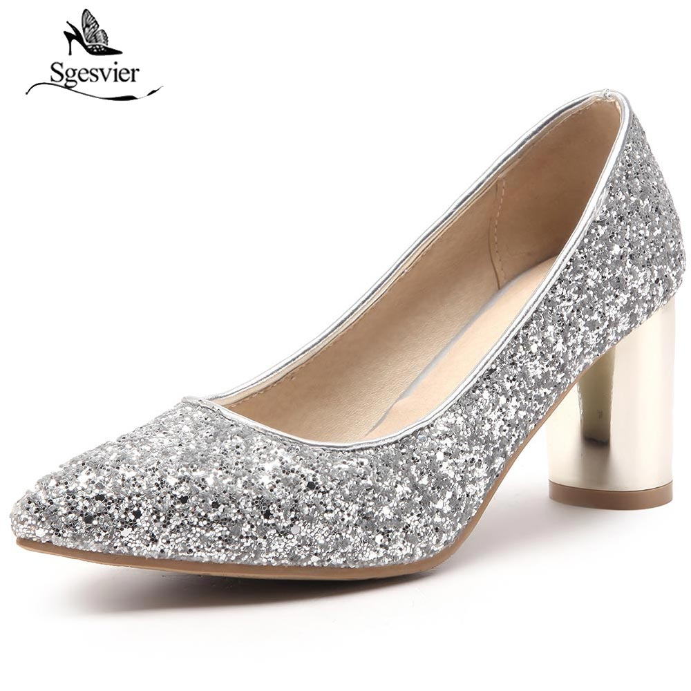 SGESVIER Ladies Silver Bling Bling Wedding Shoes Glittering ...
