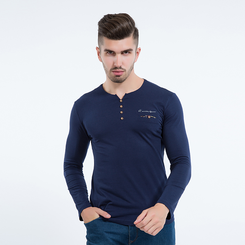Liseaven autumn new men s long sleeved T shirt v neck button decorated casual streetwear long