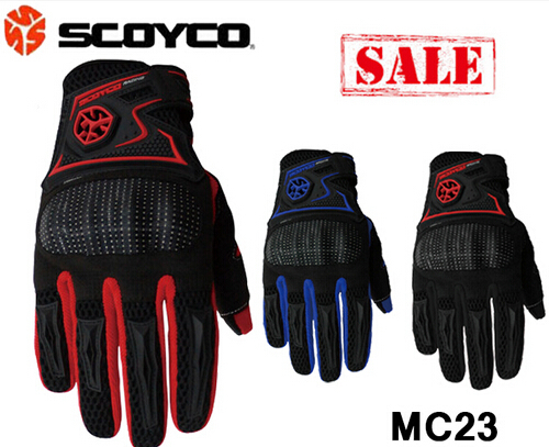 (1pair&3colors) Newest Motorcycle Full Finger Protective Cover Gloves Black/Red/Blue Brand Scoyco MC23