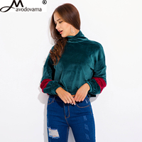 Avodovama M Fashion New Patchwork Women Casual Loose Turtleneck Long Sleeve Blouse Shirts