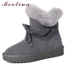 Meotina Real Fur Snow Boots Women Cow Suede Bow Flat Ankle Boots Warm Wool Round Toe Short Shoes Female Winter Black Size 34-39 цена