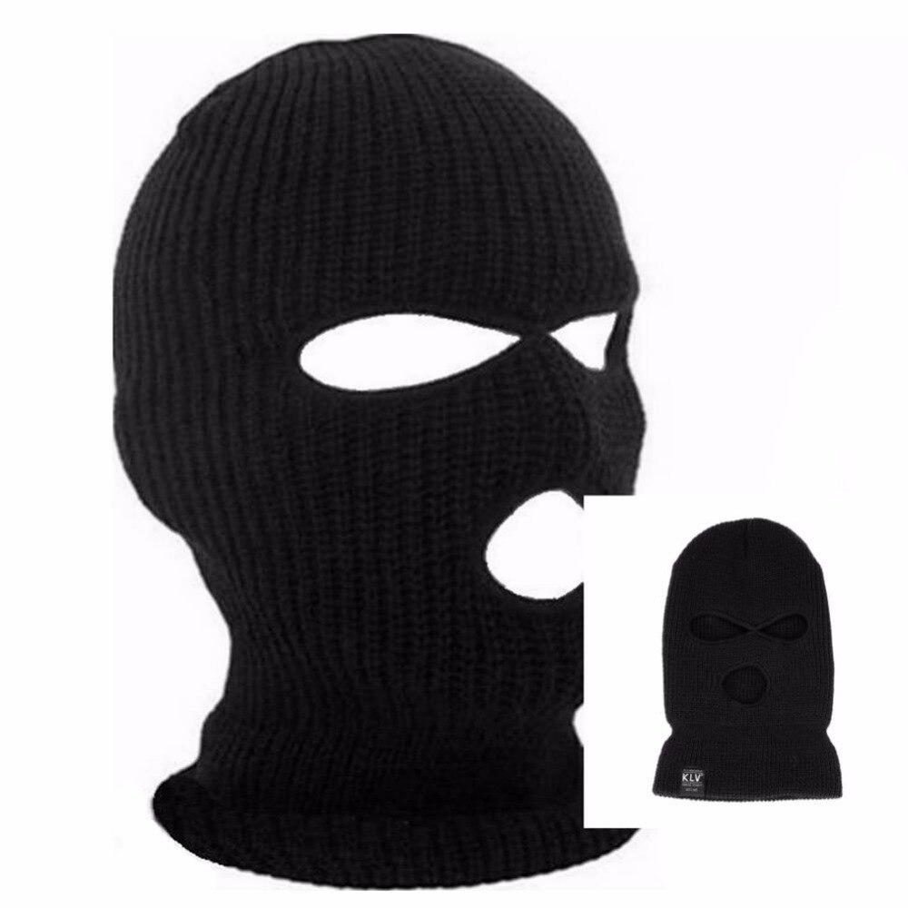 Лыжная маска с 3 отверстиями, Балаклава, черная вязаная шапка, лицевая защита, шапочка, зимняя теплая шапка