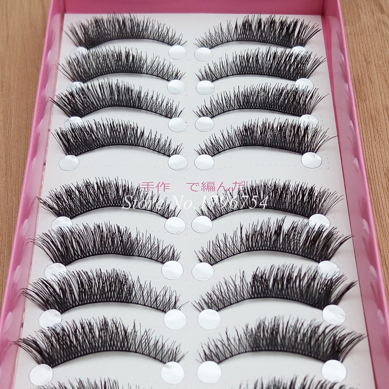 YOKPN Cross Lashes Makeup Natural Cotton Stems Thick False Eyelashes Short Thick Tapered Fake Eyelashes