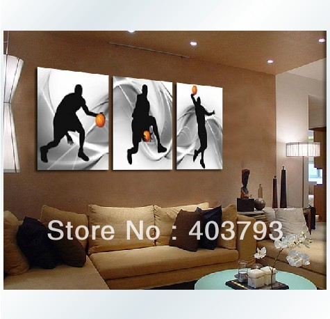 Mode moderne art mural peinture à l'huile sur toile Sport basket décoration livraison gratuite
