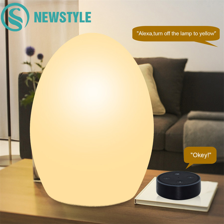 RGB IP65 Egg Night Light Alexa APP Google Home Control Led Table Lamp USB Timmer Colorful Desk Lamp for Living Room Baby's Gift free shipping colorful led egg bar table lamp break resistant rechargeable led glow egg night light for christmas