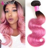 Ombre Human Hair Bundles 1 / 3 / 4 Pieces Lot 1B/Pink Dark Roots Brazilian Body Wave Bundles Rose Pink Remy Hair Weave Bundles