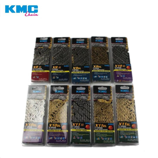 KMC X8 X9 X9sl X10 X10sl X11SL Super Light double X chain 9 10 11 speed mtb road bike bicycle chain titanium gold silver color