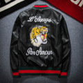 2016 Winter New European Leisure PU Leather Flight Uniform Coat Embroidered Tiger Jacket